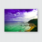 Stylized Abstract Landscape Seascape Sunset Long Poster, Pillow Case, Tumbler, Sticker, Ornament