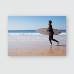 Young Man Running Carrying Surfboard On Poster, Pillow Case, Tumbler, Sticker, Ornament