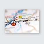 Sullivan Missouri Usa On Geography Map Poster, Pillow Case, Tumbler, Sticker, Ornament