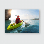 Young Lady Paddling Kayak Near Cliff Poster, Pillow Case, Tumbler, Sticker, Ornament