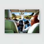Summer Car Interior Two Young People Poster, Pillow Case, Tumbler, Sticker, Ornament