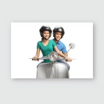 Young Man Woman Helmets Riding Vintage Poster, Pillow Case, Tumbler, Sticker, Ornament