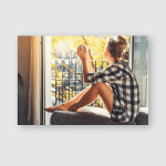 Young Pretty Woman Sitting Opened Window Poster, Pillow Case, Tumbler, Sticker, Ornament