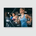 Young People Running On Treadmill Health Poster, Pillow Case, Tumbler, Sticker, Ornament