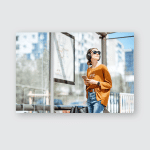 Young Stylish Woman Waiting Public Transport Poster, Pillow Case, Tumbler, Sticker, Ornament