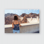 Young Woman Admiring Colorado River Hoover Poster, Pillow Case, Tumbler, Sticker, Ornament