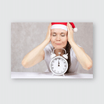 Young Woman Dressed Santas Hat Vintage Poster, Pillow Case, Tumbler, Sticker, Ornament
