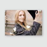 Young Woman Long Hair Gray Coat Poster, Pillow Case, Tumbler, Sticker, Ornament