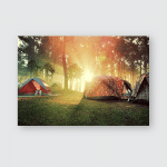Sunrise Forest Tents Vintage Style Poster, Pillow Case, Tumbler, Sticker, Ornament