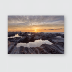 Sunrise Light Hitting Sea Rocks By Poster, Pillow Case, Tumbler, Sticker, Ornament