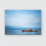 Young Woman Relaxing On Kayak Enjoying Poster, Pillow Case, Tumbler, Sticker, Ornament