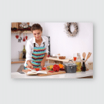 Young Woman Reading Cookbook Kitchen Looking Poster, Pillow Case, Tumbler, Sticker, Ornament
