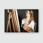 Young Women Painter Easel On Dark Poster, Pillow Case, Tumbler, Sticker, Ornament