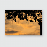 Sunset Colorful Close Silhouette Tree Leaf Poster, Pillow Case, Tumbler, Sticker, Ornament