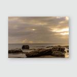 Sunset On Beach Fuerteventura Lava Rocks Poster, Pillow Case, Tumbler, Sticker, Ornament