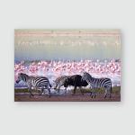 Zebras Wildebeest Walking Beside Lake Ngorongoro Poster, Pillow Case, Tumbler, Sticker, Ornament
