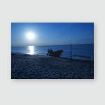 Sunset Over Coastline Silhouette Local Fisherman Poster, Pillow Case, Tumbler, Sticker, Ornament