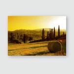 Sunset Tuscany Landscape San Gimignano On Poster, Pillow Case, Tumbler, Sticker, Ornament