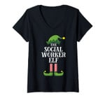 Womens Social Worker Elf Matching Family Group Christmas Party Pj V-Neck T-Shirt