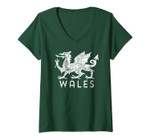Womens Rugby Welsh Tshirt Red Dragon Flag Of Wales V-Neck T-Shirt