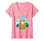 Womens Scottish Highland Cow With Ocean Salty Hair V-Neck T-Shirt