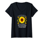 Womens She Believed She Could Make A Difference Reading Teacher V-Neck T-Shirt