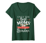 Womens Women Mom Only The Best Moms Get Promoted To Grandma Flower V-Neck T-Shirt