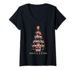 Womens Wine Christmas Tree Wine Lover Drinking Vintage Red Wine V-Neck T-Shirt