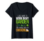 Womens Work In My Garden Hangout With My Chickens Life Gift V-Neck T-Shirt