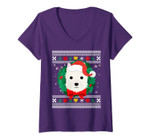 Womens West Highland White Terrier Westie Ugly Christmas Sweater V-Neck T-Shirt