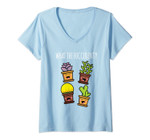 Womens What The Fucculent Funny Succulent Gardening Kawaii Gift V-Neck T-Shirt