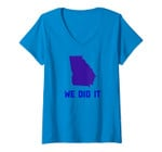 Womens We Did It, We Turned Georgia To Blue Design V-Neck T-Shirt