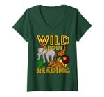 Womens Wild About Reading Back To School Teacher Books Read Gift V-Neck T-Shirt