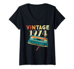 Womens Vintage 1974 Music Cassette 47th Birthday Gifts 47 Years Old V-Neck T-Shirt