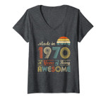 Womens Vintage 1970 Made In 1970 50th Birthday 50 Years Old Gift V-Neck T-Shirt