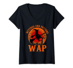 Womens Wap Witches And Potions Retro Halloween Witch Party Costume V-Neck T-Shirt