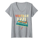 Womens Vintage 1970 Music Cassette 51st Birthday Gifts 51 Years Old V-Neck T-Shirt