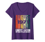 Womens Vintage August 1971 Bday Gifts 49 Years Old 49th Birthday V-Neck T-Shirt