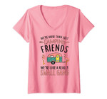Womens We're More Than Just Camping Friends Funny Flamingo Camper V-Neck T-Shirt