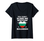 Womens You Don't Scare Me My Husband Is Bulgarian Halloween V-Neck T-Shirt