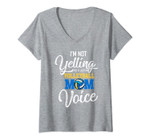 Womens I Am Not Yelling This Is Just My Volleyball Mom Voice Mother V-Neck T-Shirt
