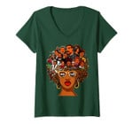 Womens I Love My Roots Back Powerful History Month Pride Dna Gift V-Neck T-Shirt
