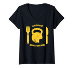 Womens I Like Exercise Because I Love Eating Gym Workout Gifts V-Neck T-Shirt