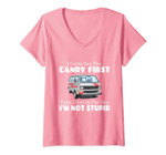 Womens I Gotta See The Candy First Then I Get In The Van - Fun Gift V-Neck T-Shirt