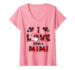 Womens I Love Being A Mimi Gnomes Red Plaid Heart Valentine's Day V-Neck T-Shirt
