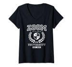 Womens Zoom University Distance Learning Funny V-Neck T-Shirt