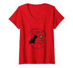Womens I Just Want To Drink Coffee & Snuggle My French Bulldog V-Neck T-Shirt