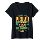 Womens I Am A Proud Teacher Of Smart And Awesome Bilingual Kids V-Neck T-Shirt