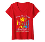 Womens I See Your True Colors Hands Autism Awareness Gift Puzzle V-Neck T-Shirt