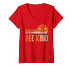 Womens In A World Where You Can Be Anything Be Kind Vintage Bee V-Neck T-Shirt